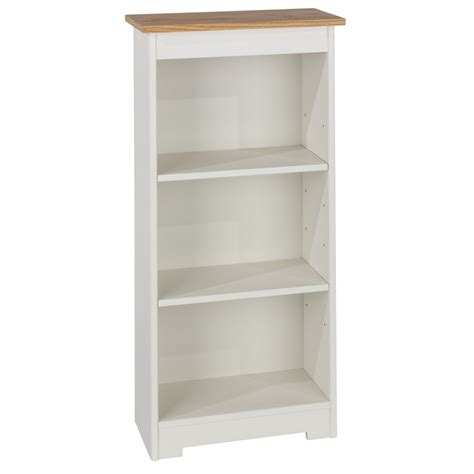 White Bookcase by Abdabs Furniture Colorado Warm White Low Narrow Bookcase