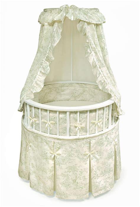 white elegance round baby bassinet w sage toile bedding