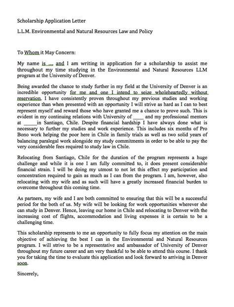 scholarship application letter sle http