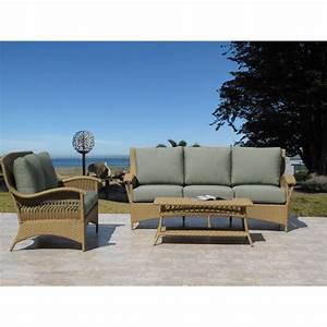 Havana natural outdoor patio resin wicker sofa loveseat 3 for Outdoor wicker sofa sectional 3 piece resin couch set
