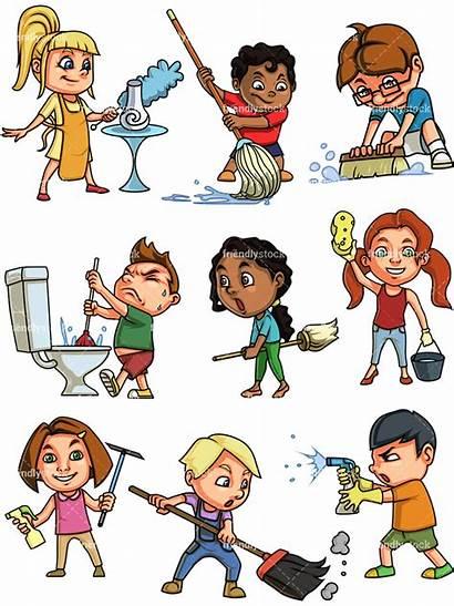 Cleaning Clipart Children Chores Doing Cartoon Boy