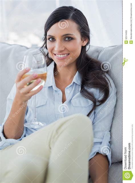Seductive Brunette Drinking White Wine Royalty Free Stock