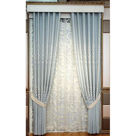 baby blue tree embroidery linen patio door curtains
