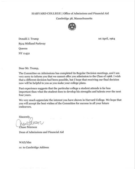 penn state acceptance letter fact check donald s harvard rejection letter 32715