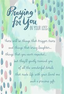 praying for you in your loss religious sympathy card