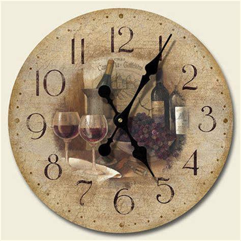 new tuscany wine glasses grapes wall clock kitchen decor