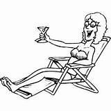 Sunbathing Coloring Martini Water Sheets Sheet Freecoloringsheets sketch template