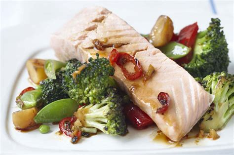anna lewandowska food uk steamed salmon with sesame stir fried vegetables recipe