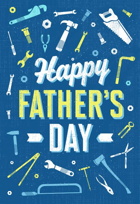 retro working tools fathers day card  island