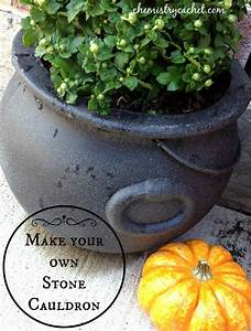 Transform Cheap Plastic Cauldron Into A Stone Planter