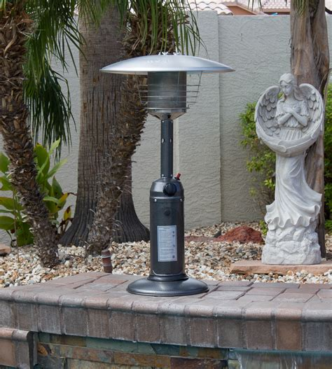 az patio heaters manual outdoor tabletop patio heater hammered silver finish