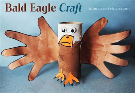 paper roll and handprint bald eagle craft lesson plans 565 | Paper Roll and Handprint Bald Eagle