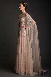 2014 krikor jabotian scoop beaded tulle long champagne With wedding dress with long cape