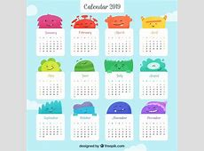 Flat colourful calendar for the year 2019 Vector Free