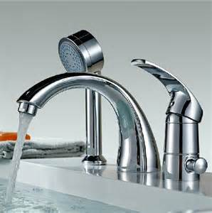 Brushed Nickel Faucets Kitchen Chrome Widespread Bathtub Mixer Faucet Three Holes Tap With Shower Spray Ebay
