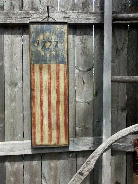 primitive aged  american flag wood sign