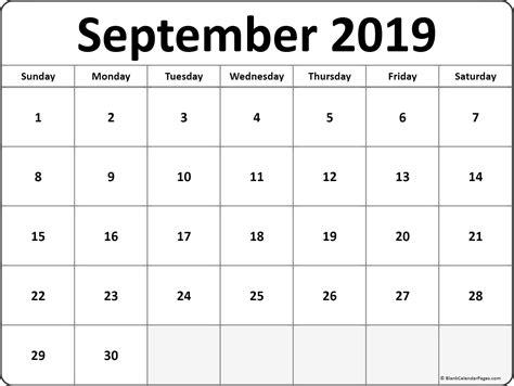 september  blank calendar collection