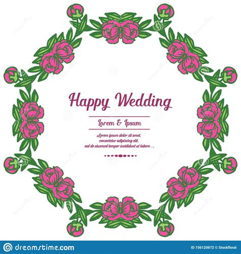 Wreath Pink Flowers And Branches With Green Leaves Design