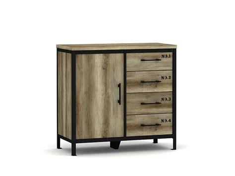 meuble de rangement bureau conforama rangement 1 porte 4 tiroirs loft coloris chêne