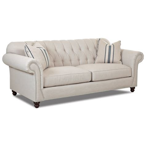 Traditional Sofa With Button Tufted Back Rolled Arms And