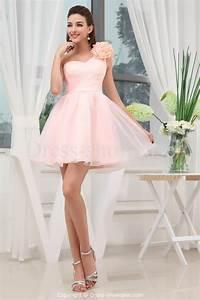 one-shoulder-blush-pink-bridesmaid-dresses-JERU | Dresses ...