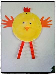 Bricolage De Paques : poussin en assiette en carton bricolage paques animaux ~ Melissatoandfro.com Idées de Décoration