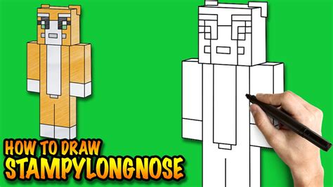 draw stampylongnose minecraft easy step  step
