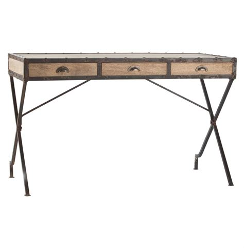 wood and iron desk modern rustic reclaimed wood iron rivet caign desk