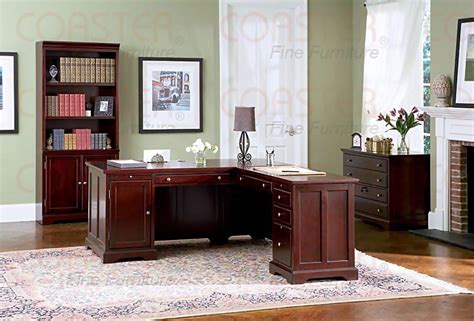 rich cherry l shaped home office office sets