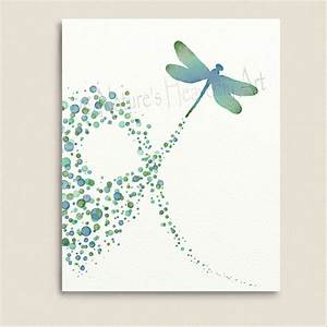 Turquoise wall decor dragonfly art print by