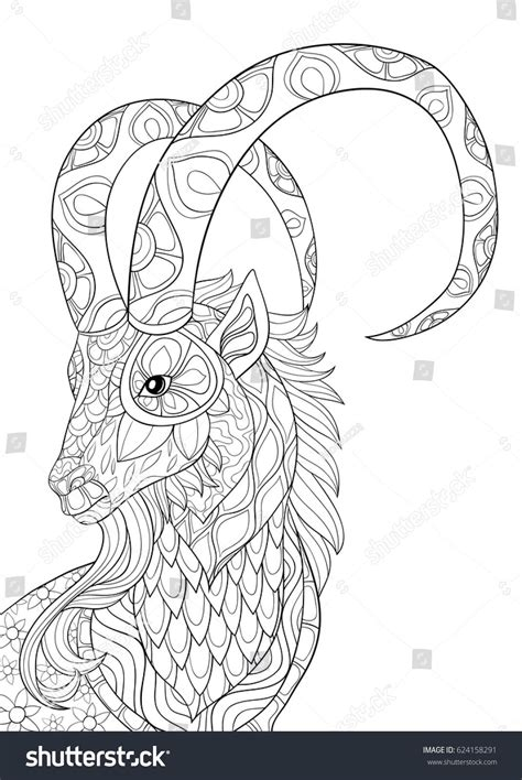 Coloring For Adults by Coloring Page Goat Zen Style Illustration