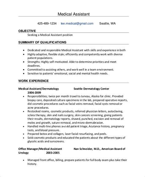 sle medical assistant resume 7 exles in pdf