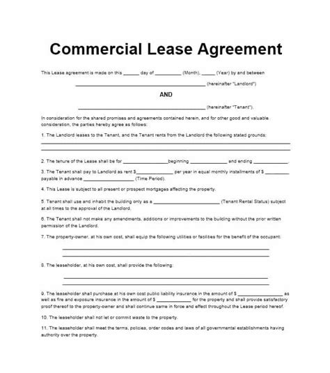 commerical lease agreement business template
