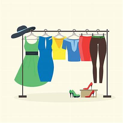 Hangers Vector Illustration Clothes Clipart Racks Clothing