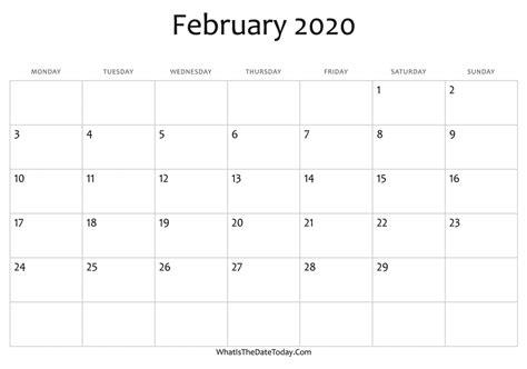 blank february calendar editable whatisthedatetodaycom