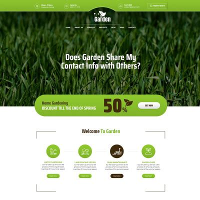 bootstrap template gardening 2506 web site templates web page templates