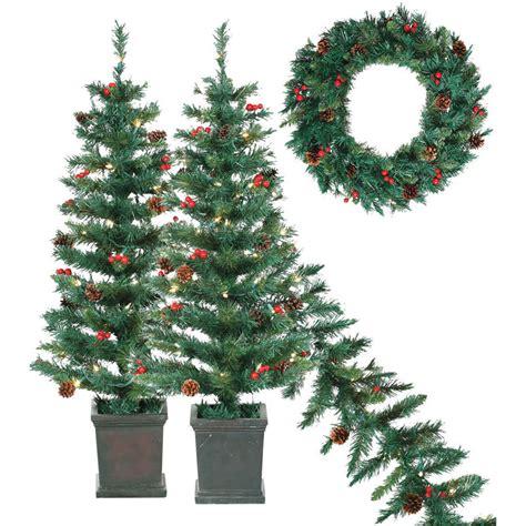 set of 4 pre lit tree garland wreath