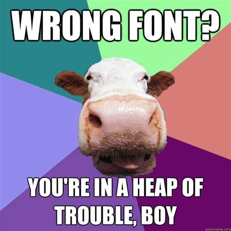Meme Caption Font - wrong font you re in a heap of trouble boy meme police cow quickmeme