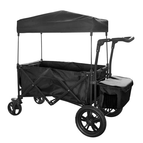 folding wagon with canopy black outdoor folding push wagon canopy garden utility