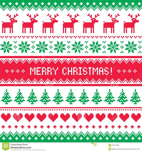 Classic nordic pattern design 1 sheet stencil the nordic pattern stencil 1, part of our exciting nordic stencil range, is ideal for creating your own on trend winter decorating designs. Merry Christmas Pattern With Deer - Scandynavian Sweater ...