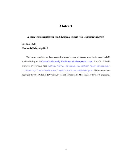 Title Page Abstract Template by Latex Thesis Template For Concordia University Students By