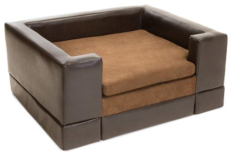 dog beds for the sofa rover chocolate brown leather dog sofa bed contemporary