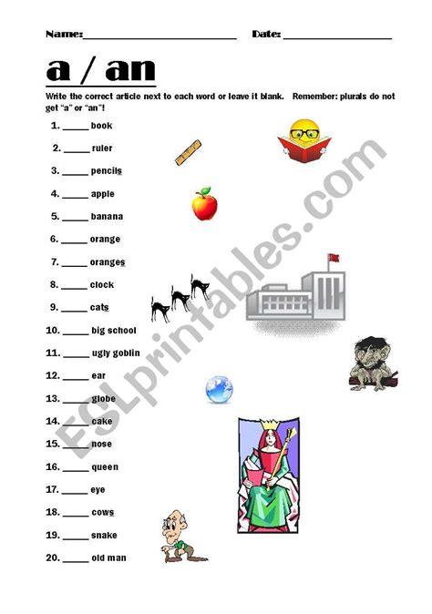 a an worksheet indefinite articles esl worksheet by