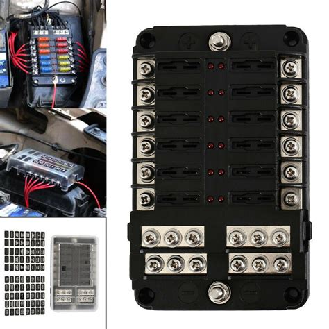 Boat Fuse Box Wiring Diagram by 12 Way Blade Fuse Box Bar Car Kit With Cover Marine