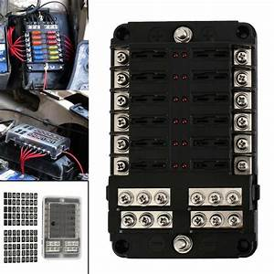 12 Way Blade Fuse Box Bus Bar Car Kit With Cover Marine