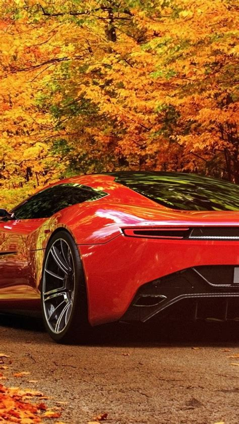 red aston martin autumn scenery iphone  wallpaper hd