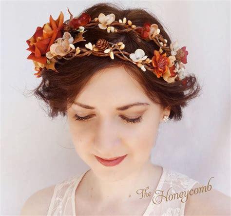 Fall Wedding Headpiece Rustic Flower Crown Autumn By