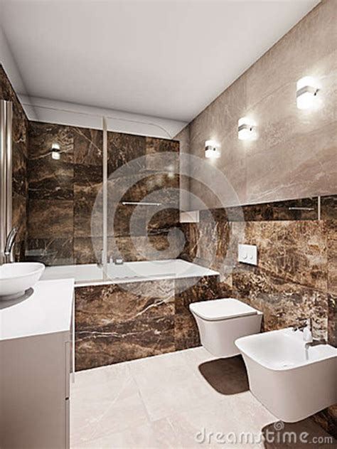 modern bathroom interior  beige  brown marble tiles