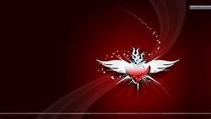 Red Heart With White Wings Cool Red Wallpaper Wallpaper