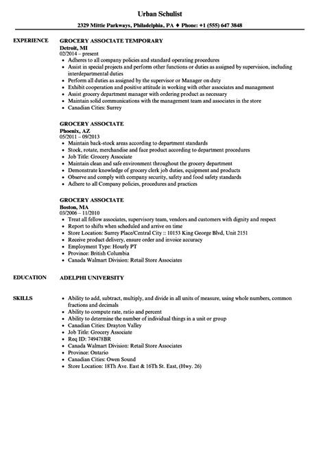 Grocery Store Resume by Grocery Associate Resume Sles Velvet